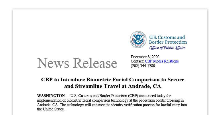CBP to Introduce Biometric Facial Comparison to Secure and Streamline Travel at Andrade, CA