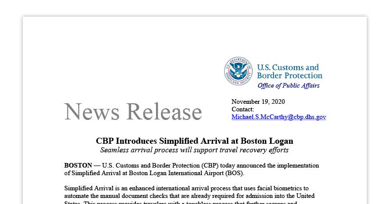 CBP Introduces Simplified Arrival at Boston Logan