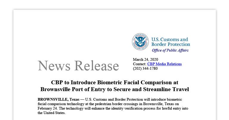 CBP to Introduce Biometric Facial Comparison at Brownsville Port of Entry to Secure and Streamline Travel