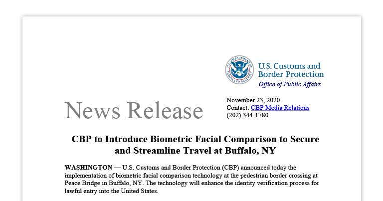 CBP to Introduce Biometric Facial Comparison to Secure and Streamline Travel at Buffalo, NY