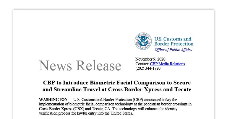 CBP to Introduce Biometric Facial Comparison to Secure and Streamline Travel at Cross Border Xpress and Tecate