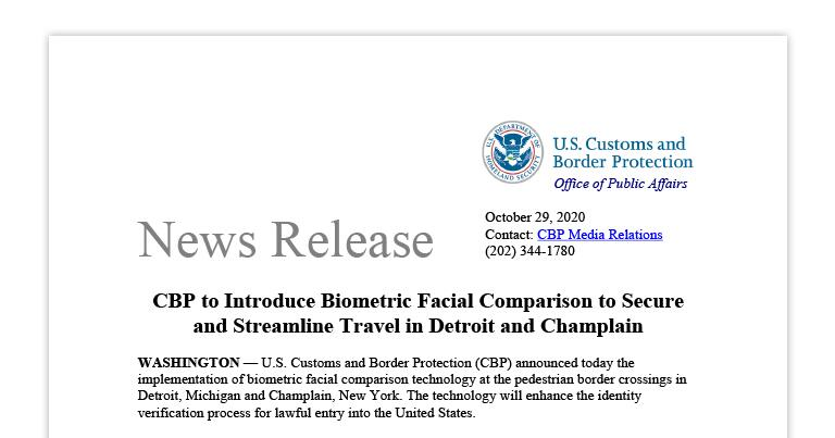 CBP Introduces Biometric Facial Comparison to Secure, Streamline Travel in Detroit and Champlain