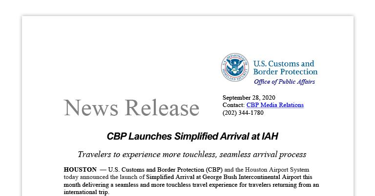 CBP Launches Simplified Arrival at IAH