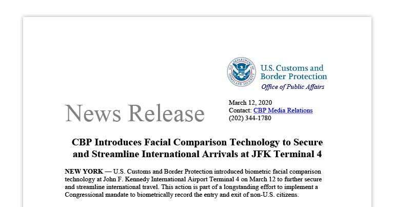 CBP Introduces Facial Comparison Technology to Secure and Streamline International Arrivals at JFK Terminal 4