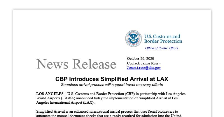 CBP Introduces Simplified Arrival at LAX