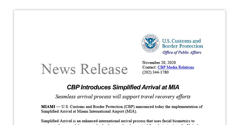 CBP Introduces Simplified Arrival at MIA