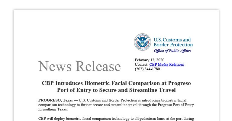 CBP Introduces Biometric Facial Comparison at Progreso Port of Entry to Secure and Streamline Travel